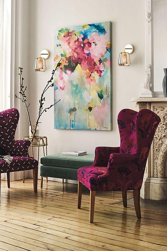 Mor Renkte Salon Dekorasyonu 1