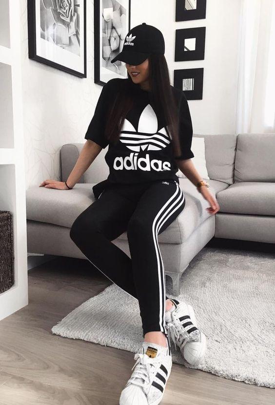 Harika Adidas eşofman ve tayt Fikirleri 6