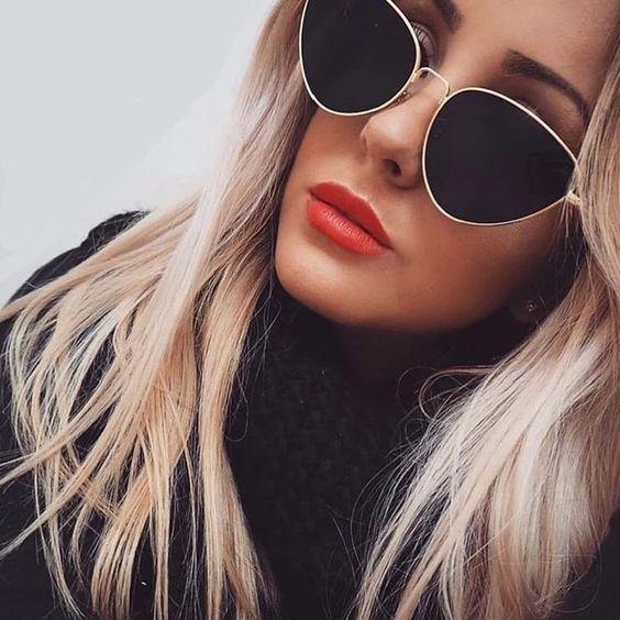 Modayı seven Kızlar için Çarpıcı Güneş Gözlüğü 18