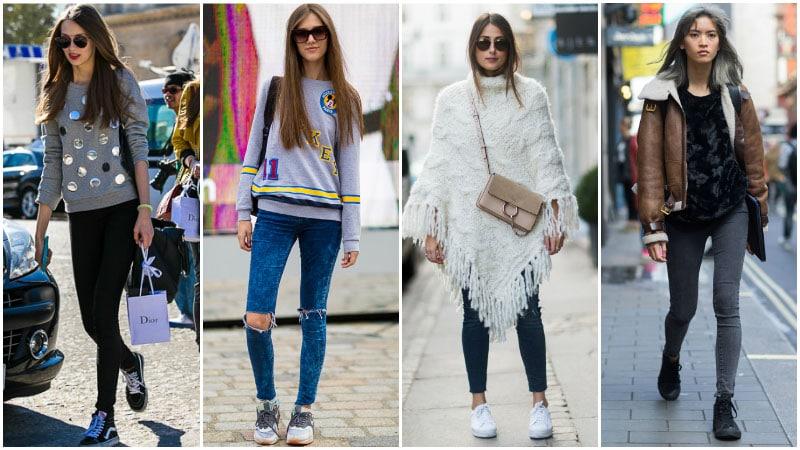 Skinny jeans spor giyim