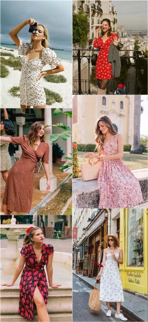 Yaz için Çiçek Baskı Elbiseleri modelleri 1