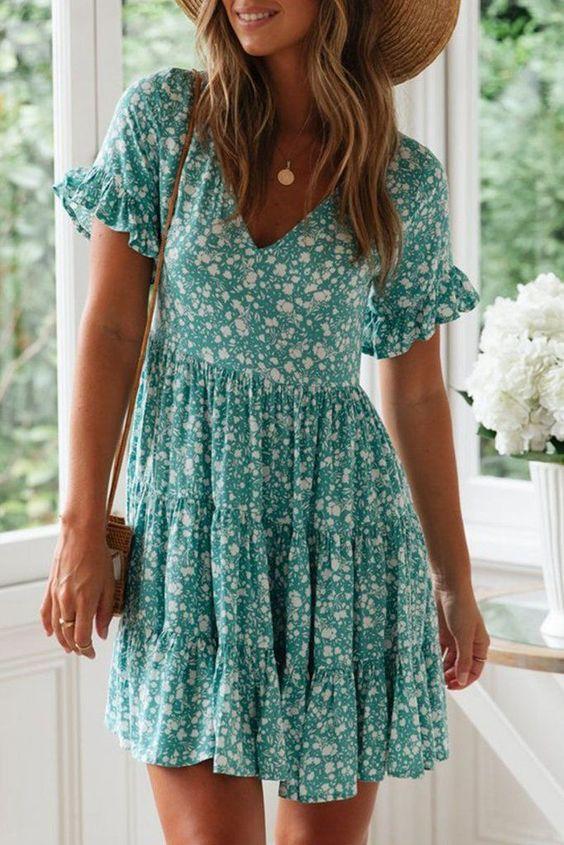 Yaz için Çiçek Baskı Elbiseleri modelleri 11