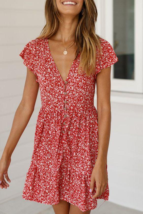 Yaz için Çiçek Baskı Elbiseleri modelleri 8