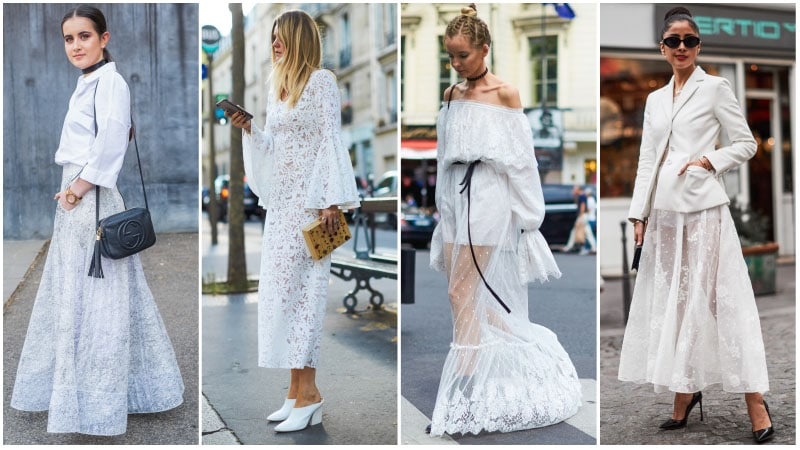 beyaz dantel kıyafet kombini