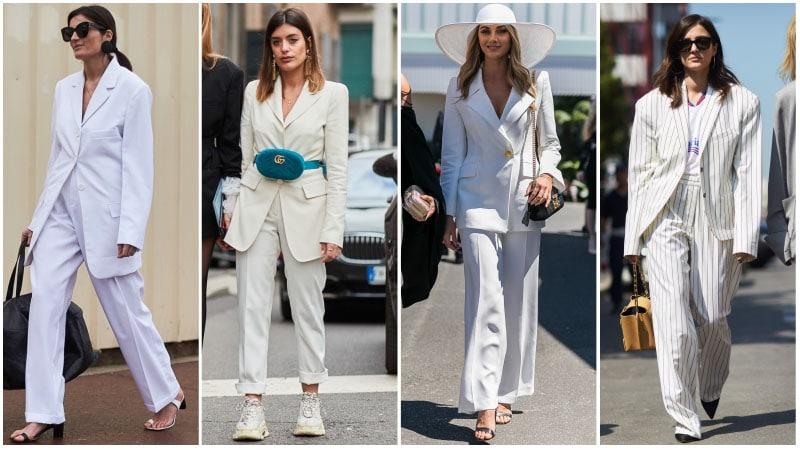 beyaz takım elbise kombini