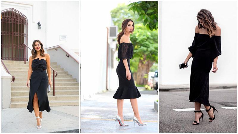 düğün için siyah elbise