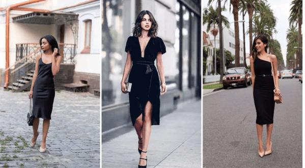 siyah elbise kombin